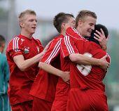 KAPOSVAR, HUNGARY - OCTOBER 16: Debrecen players celebrate a goal at the Hungarian National Champion