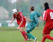KAPOSVAR, HUNGARY - OCTOBER 16: Krisztian Garai (C) in action at the Hungarian National Championship
