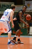 KAPOSVAR, HUNGARY - JANUARY 22: Bam Doyne (in black) in action at a Hungarian National Championship