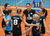KAPOSVAR, HUNGARY - JANUARY 23: Miskolc players celebrate at the Hungarian NB I. League woman volley