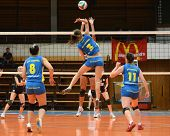 KAPOSVAR, HUNGARY - JANUARY 23: Zsofia Harmath (3) strikes the ball at the Hungarian NB I. League wo