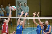 KAPOSVAR, HUNGARY - FEBRUARY 4: Zsanett Pinter (2) blocks the ball at the Hungarian NB I. League wom