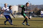 KAPOSVAR, HUNGARY - FEBRUARY 8: Unidentified players in action at a friendly soccer game Kaposvar vs