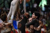 KAPOSVAR, HUNGARY - AUGUST 12: Slovakian competitors celebrate at the Vaulting World Championship Fi