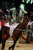 KAPOSVAR, HUNGARY - AUGUST 12: Swiss competitors in action at the Vaulting World Championship Final
