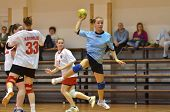 KAPOSVAR, HUNGARY - MARCH 13: Bernadett Sardi (R) in action at Hungarian Handball National Champions