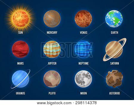 poster of Solar System Cartoon Planets. Cosmos Planet Galaxy Space Orbit Sun Moon Jupiter Mars Venus Earth Nep