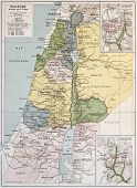 Palestine tribes old map with Jerusalem insert maps. By Paul Vidal de Lablache Atlas Classique, Libr