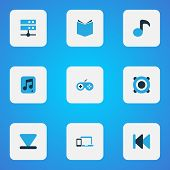 Multimedia Icons Colored Set With Previous, Musical Note, Multimedia And Other Gamepad Elements. Iso poster