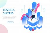Isometric Business Woman Success, Leadership, Awards, Career, Successful Projects, Goal, Winning Pla poster