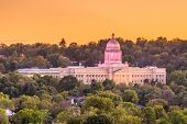 Frankfort, Kentucky, USA with the Kentucky State Capitol at dusk. poster