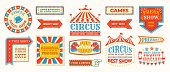 Circus Labels. Carnival Retro Banner Signs, Vintage Magic Frames And Arrows Elements, Welcome The Sh poster