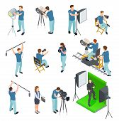 Cinematograph Isometric Set. People Work Camera Light Crew Movie Video Film Motion Production Tv Stu poster