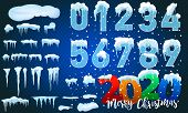 2020 Winter Decorations Set Of Snow Icicles, Snow Cap Isolated. Snowy Elements On Winter Background. poster