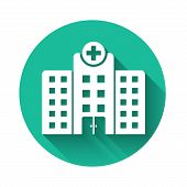 White Medical Hospital Building With Cross Icon Isolated With Long Shadow. Medical Center. Health Ca poster