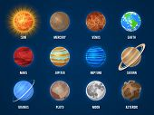 Solar System Cartoon Planets. Cosmos Planet Galaxy Space Orbit Sun Moon Jupiter Mars Venus Earth Nep poster