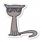 sticker of a cartoon cool cat poster