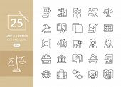Law And Justice Icon Set Suitable For Info-graphics, Websites And Print Media. Modern Thin Line Icon poster
