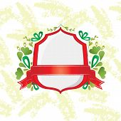 foto of bordure  - Red shield and ribbon with decorative elements - JPG