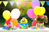 Kids Birthday Cake With Cars. Party Decoration. poster