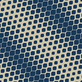 Vector Halftone Geometric Seamless Pattern. Elegant Deep Blue And Gold Texture With Diagonal Gradien poster