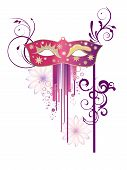 stock photo of masquerade mask  - vector illustration of a carnivale mask and floral ornaments on an abstract background - JPG