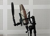 Microphone music in audio studio or radio show poster