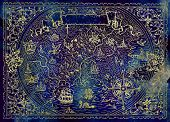 Atlas Map Of Unknown World With Fantasy Creatures, Pirate Ship, Compass On Blue Texture. Hand Drawn  poster