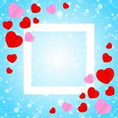 Square White Frame And Red Pink Heart Shape For Template Banner Valentines Card Background, Many Hea poster