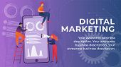 Inscription Digital Marketing Banner Cartoon. Marketing Goods And Services. Digital Channels To Attr poster
