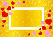 Empty White Frame And Red Pink Heart Shape For Template Banner Valentines Gold Background, Many Hear poster