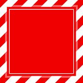 Warning Sign Red White Stripe Frame Template Background Copy Space, Red Banner Frame Striped Awning, poster