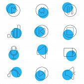 Vector Illustration Of 12 Melody Icons Line Style. Editable Set Of Microphone, Previous, Volume Down poster