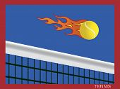 Hot flaming tennis ball flying over the net