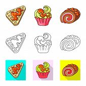 Vector Design Of Confectionery And Culinary Sign. Collection Of Confectionery And Product Stock Symb poster