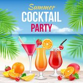 Cocktail Party Poster. Invitation To Drinking Alcohol Summer Party Martini Whiskey Margarita Vector  poster