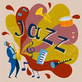Black Musician In A Hat Playing Jazz On A Saxophone. Vector Illustration With Musical Instruments An poster