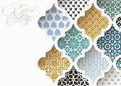 Muslim Holiday Eid Al Adha Greeting Card. Close-up Of Colorful Ornamental Arabic Tiles, Patterns Thr poster