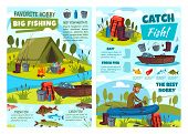 Fishing At Lake, Fisher Tackles And Lures Or Fish Catch Equipment. Vector Fishing Hobby Adventure At poster