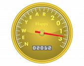 stock photo of happy new year 2013  - happy new year 2013 speedometer vector illustration - JPG