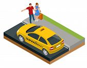 Isometric Concept Of Taxi Car, Traveling People With Baggage, A Mobile Taxi Call Application. Active poster