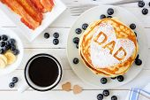 Fathers Day Pancakes With Heart Shape And Dad Letters. Fathers Day Breakfast Concept. Above View Tab poster