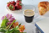 Morning  Romantic Breakfast - Coffee Mag, Empty Notebook , Flowers, Croissant, Strawberries - Macro poster