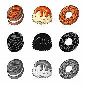 Vector Illustration Of Confectionery And Culinary Sign. Set Of Confectionery And Product Vector Icon poster