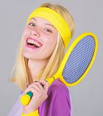 Tennis Club Concept. Girl Adorable Blonde Play Tennis. Sport For Maintaining Health. Athlete Hold Te poster