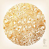 floral ornament in circle, vector illustration