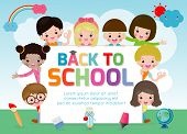 Back To School, Kids School, Education Concept, Welcome Back To School, Template For Advertising Bro poster