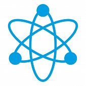 Blue Physics Icon On White Background. Physics Sign Vector Eps10. Electron Icon. poster