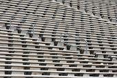 Empty Metal Football Stadium Bleachers