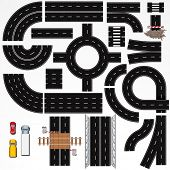 Collection of Isolated Seamless Highway Elements, Constructions and Various Vehicles. Vector Map Kit